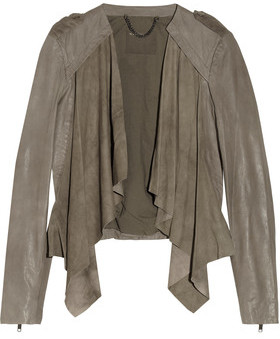 Muubaa Lupus Draped Suede And Leather Biker Jacket $565 thestylecure.com