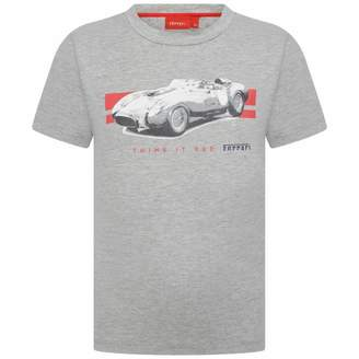 Ferrari FerrariBoys Grey Car Print Cotton Top