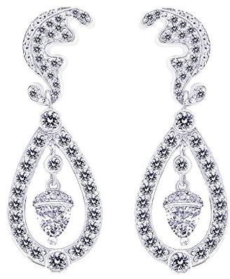Platinum-Plated Sterling Simulated Diamonds Duchess Earrings