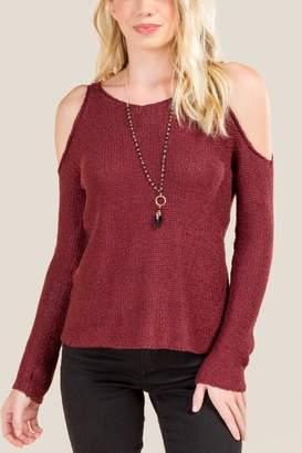 francesca's Amara Cold Shoulder Sweater - Wine