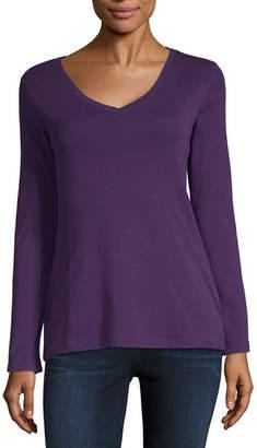 Liz Claiborne Long Sleeve V Neck T-Shirt-Womens