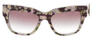 Dolce & Gabbana Floral Print Gradient Sunglasses Black Floral Print Gradient Sunglasses