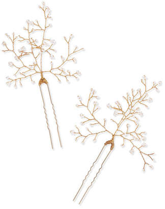 14 / Quatorze - Baby's Breath Gold-tone Pearl Hair Pins - White