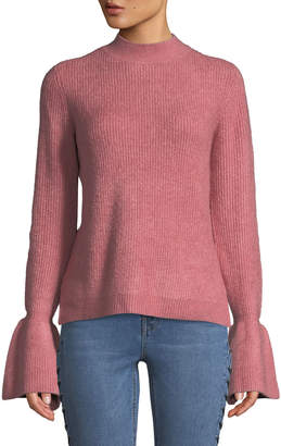 Free Generation Mock-Neck Bell-Cuff Sweater