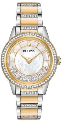 Bulova Women's Two Tone Crystal Turn Style Watch