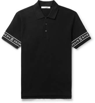 Givenchy Slim-Fit Logo-Jacquard Cotton-Pique Polo Shirt - Men - Black