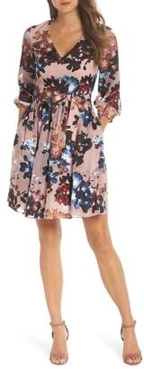 Vince Camuto Burnout Floral Fit & Flare Dress