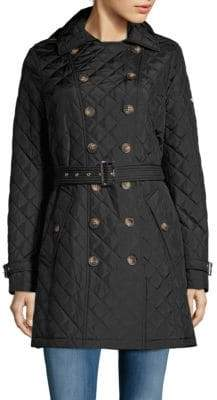 Calvin Klein Quilted Belted Trench Coat