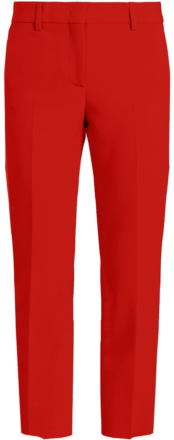 MSGM Slim-leg cropped crepe trousers