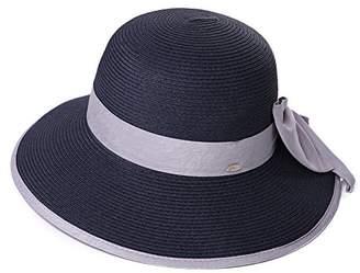 Cloche Jeff & Aimy Ladies Straw Sun Hat Wide Brim SPF UV Protection Foldable Panama Fedora Summer Beach Accessories Fashion Sunhat Navy