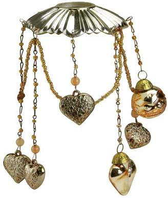 "CC Christmas Decor 6.5"" Antique Gold Glass Bobeche Candle Ring with Hanging Heart Charms"