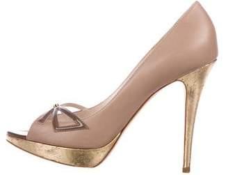 Christian Dior Bow Peep-Toe Pumps