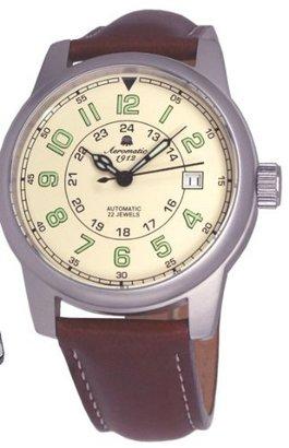 Aeromatic1912 Aeromatic 1912自動(自動巻き) Aviator Watch with Brownストラップa1412