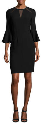 Elie Tahari Garcia Bell-Sleeve Sheath Dress w/ Mesh Inserts, Black $448 thestylecure.com