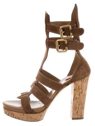 Chloé Suede Caged Sandals Brown Chloé Suede Caged Sandals