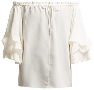 Diane von Furstenberg Georganne Off The Shoulder Silk Top - Womens - Ivory