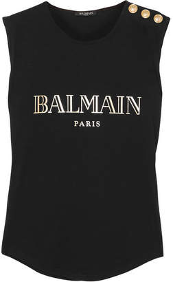Balmain Button-embellished Printed Cotton-jersey Tank