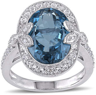FINE JEWELRY Genuine London Blue Topaz, White Topaz and Diamond-Accent Ring