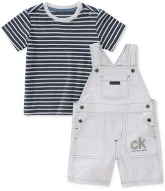 Calvin Klein 2-Pc. Striped T-Shirt & Overall Set, Baby Boys