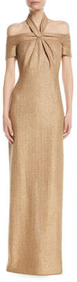 St. John Glimmer Knit Sequin 3/4-Sleeve Halter Gown