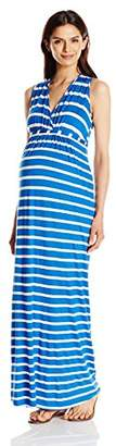 Three Seasons Maternity Women's Maternity Sleeveless Surplice Stripe Maxi Dress