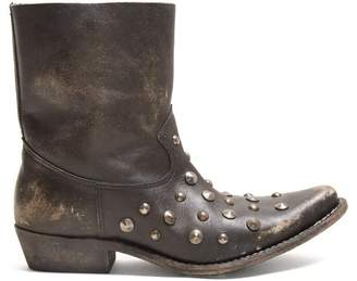 Golden Goose Tribute Studded Leather Ankle Boots - Womens - Black
