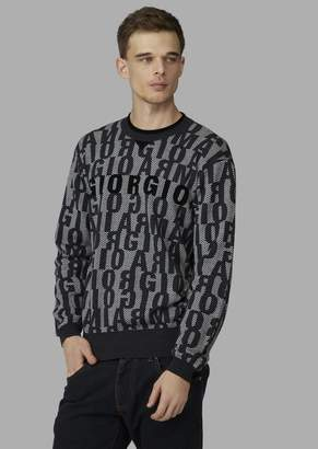 Giorgio Armani Jacquard Knit Sweater With Lettering Pattern
