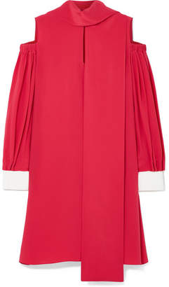 Fendi Cold-shoulder Silk Crepe De Chine Mini Dress - Pink