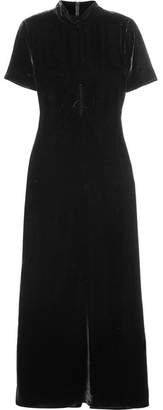 McQ Ruched Velvet Turtleneck Maxi Dress - Black