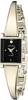 Armitron Women's 75/5322BKGP Diamond-Accented Dial Gold-Tone Bangle Watch