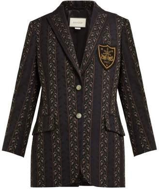 Gucci Single Breasted Wool Blend Blazer - Womens - Black Multi