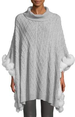 Neiman Marcus Luxury Cashmere Cable-Knit Poncho with Fur Trim