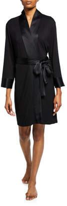 Josie Natori Essentials Jersey Robe w/ Satin Trim