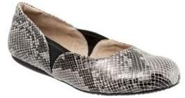 SoftWalk Norwich Snake Print Leather Ballet Flats