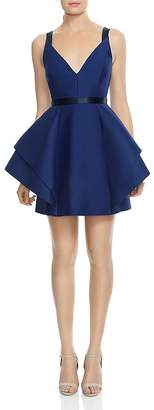 Halston Structured Ruffled Fit-and-Flare Dress