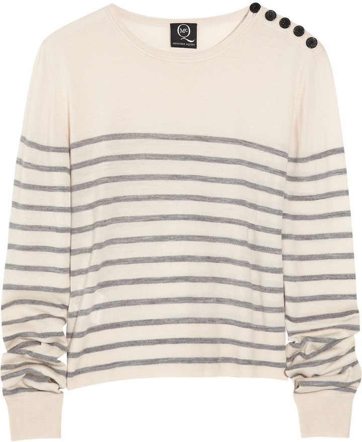McQ Alexander McQueen Cropped striped wool sweater