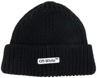 Off-White ribbed logo beanie