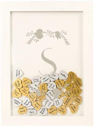 Cathy's Concepts Cathys Concepts Silver Finish Monogram Shadowbox Heart Drop Guestbook 101-piece Set