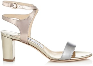 Jimmy Choo MARINE 65 Metallic Mix Liquid Mirror Leather Sandals