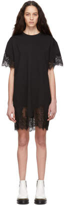 McQ Black Slouchy Lace T-Shirt Dress