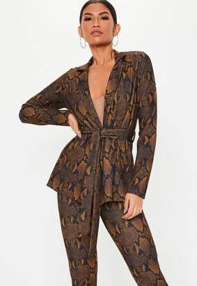 Missguided Brown Snake Print Co Ord Blazer, Brown