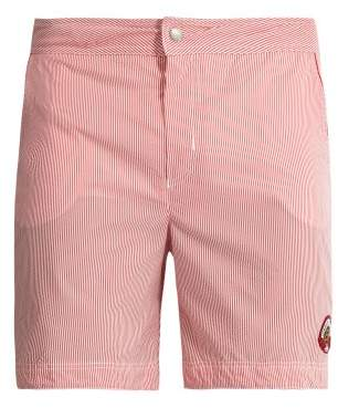 Robinson Les Bains - Oxford Long Striped Swim Shorts - Mens - Red