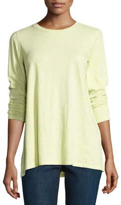 Eileen Fisher Long-Sleeve Slubby Organic Jersey Top, Plus Size