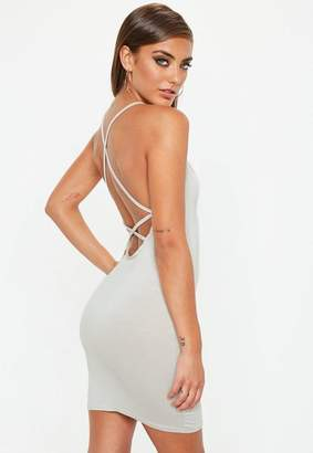 Missguided Strappy Cross Back Bodycon Dress Gray