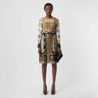 Burberry Archive Scarf Print Pleated Silk Dress