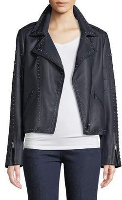 Neiman Marcus Leather Collection Leather Jacket w/ Studs