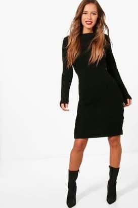 boohoo Petite Rib Knitted Midi Dress