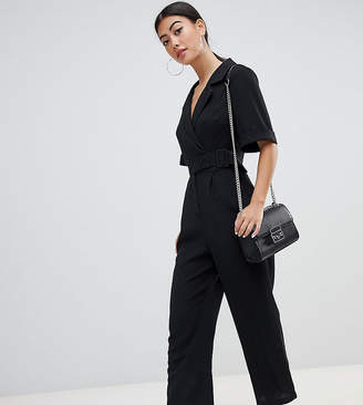 Asos DESIGN Petite wrap jumpsuit with self buckle