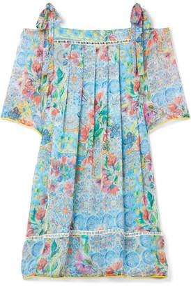 Matthew Williamson - Deia Fiesta Cold-shoulder Printed Silk-chiffon Dress - Light blue