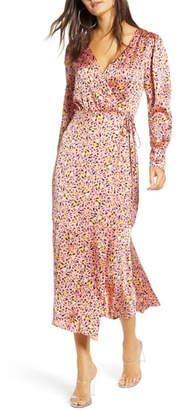 Leith Pink Leopard Print Long Sleeve Satin Midi Wrap Dress
